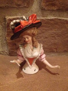 Lady Wearing Hat Reading Letter Half Doll