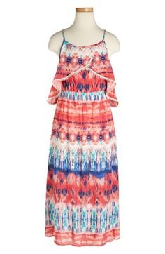 Zunie Tie Dye Ethnic Print Maxi Dress (Big Girls) available at #Nordstrom