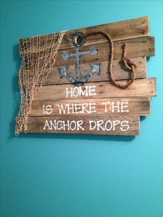 Wooden Pallet Furniture Ocean anchor pallet sign beac decor Designed by Tamica McBride - Unisex Adjustable To Any Wrist Rope Pallet Crafts, Pallet Art, Diy Pallet Projects, Pallet Signs, Wood Projects, Furniture Projects, Wood Signs, Wooden Pallet Furniture, Wooden Pallets
