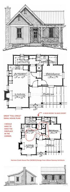 "GREAT SMALL HOUSE PLAN ~ i MODIFIED IT TO MAKE IT FIT MY ""FULL CIRCLE"" HOUSE PLAN IDEAS 1st floor 701 sf"