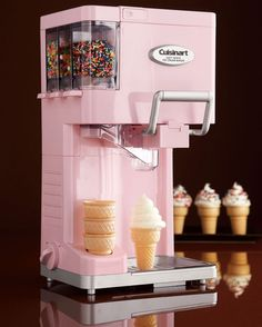 For The Little One: Soft Serve Ice Cream Maker by Cuisinart at Neiman Marcus. I love this ice cream machine!Cutest soft serve ice cream maker by Cuisinart! Has places for easy-dispense sprinkles and a spot to hold your ice cream cones! How delicious! Small Kitchen Appliances, Cool Kitchens, Cream Kitchens, Fun Kitchen Gadgets, Kitchen Gifts, Diner Kitchen, House Appliances, Retro Appliances, Kitchen Small