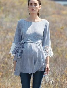 Luxe Essentials Lace Sleeve Maternity Blouse, Blue Pinstripe: How to Dress when Pregnant. You can still look stylish and feel. Maternity Sewing, Cute Maternity Outfits, Stylish Maternity, Maternity Wear, Maternity Tops, Maternity Dresses, Maternity Fashion, Maternity Style, Sewing Maternity Clothes