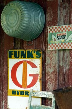 Turn vintage signs, advertisements, and galvanized basins into wall art for your shed!