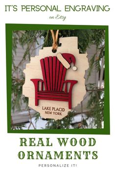 These adorable Christmas tree ornaments are made from real hardwood. The Adirondack Chair and Santa Hat are separate pieces of wood  attached to the park cutout for a beautiful dimensional effect. Great gifts for anyone on your list! They also make great Wedding Favors! #christmasgift #woodtreeornament #crhristmasornament #personalizedornament #lakeplacid #adirondackpark #giftforsister #forparents #forsister #fornewlyweds #forguests #giftshopideas #treeornament #uniquegifts #fortravelers…