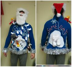 Double Sided Tacky Ugly Christmas Sweater Light Up Sweater. Frosty snowman, Melting snowman, Snowman