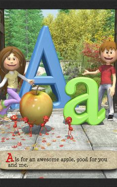 The ABC poem for kids starts with the letter A, showing both upper and lowercase letters, with fantastic images, and a great rhyme. Upper And Lowercase Letters, Lowercase A, Alliteration, Kindergarten, Poems, Preschool, Lettering, Learning, Kids