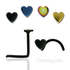 Joya para piercing de nariz en ángulo con corazón. Varios colores. Acero quirúrgico. Grosor 0,8mm. Largo: 6mm. Corazón: 2,5mm. Ideal par, 1.77