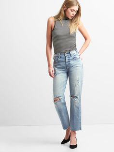 efc80c8fcc Gap Womens Cone Denim® High Rise Wide-Straight Jeans With Destruction -  Regular 25