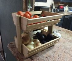 A homemade fruit and veggie holder is a great item to make for a DIY project. This is something that is easy to make and can be done by using scrap wood.
