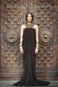 Armenian fashion designer Kivera Naynomis, Fall Coll. 2012, but magnificent door behinf model, wonder where