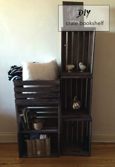 stained crate bookshelf DIY