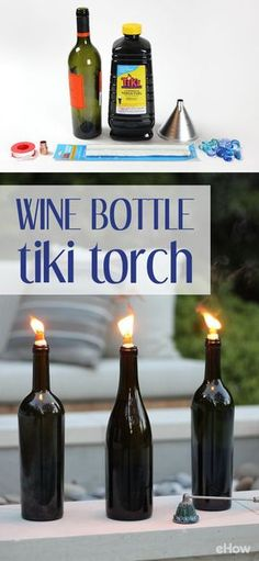 Tiki torches are a great way to light up your outdoor gatherings after the sun sets, and these DIY torches made from upcycled wine bottles will even help keep the bugs away. With just a few simple supplies from the hardware store, you'll have a low-cost source of illumination for your summer soirées that's as practical as it is elegant. http://www.ehow.com/how_8176901_make-wine-bottle-tiki-torch.html?utm_source=pinterest.com&utm_medium=referral&utm_content=freestyle&utm_campaign=fanpage