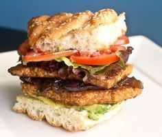 Blackened Tempeh Burgers. These burgers were created by Andy Windak, and he has a super cute video showing how to prepare these on his website, Windattack. http://windattack.com/recipe/blackened-tempeh-burgers/