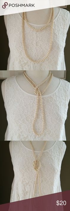 Long Layering Pearls So pretty and so versatile🌸 Wear long, doubled, lariat,  or pile additional pearls on for a super chic look! Slips over head Heavy weight faux pearls Beautiful sarin sheen NWT Jewelry Necklaces