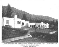 Bella Vista Terrace (or Lewis Courts) at Sierra Madre, California, 1910, Irving Gill, architect