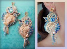 """EARRINGS - bead embroidery, shibori silk, soutache, swarovski. Designed by """"Serena Di Mercione Jewelry"""""""