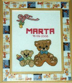 Cuadro de recuerdo de nacimiento realizado en punto de cruz, por Charo.