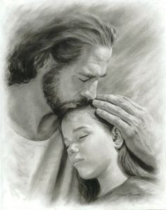 David Bowman My Child Wall Art Print Jesus Christ Kissing Child Religious Spiritual Christian Fine Art Print) Image Jesus, Jesus Drawings, Jesus Christ Drawing, Pencil Drawings, Bibel Journal, Pictures Of Jesus Christ, Lds Art, Jesus Christus, Jesus Face