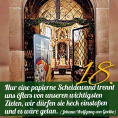 ZItat zum Advent von Johann Wolfgang von Goethe, Kirchentüre: Kapellenkirche Rottweil in Baden-Württemberg