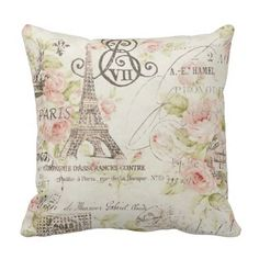 Vintage Floral Paris Eiffel tower decor pillow. $31.95