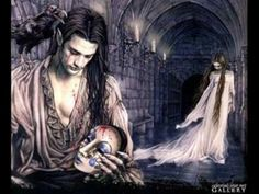 Paintings in the Gothic style by Victoria Frances, famous Spanish artist, depict young women suffering from love to obsession of vampires. Male Vampire, Vampire Art, Vampire Kiss, Gothic Fantasy Art, Dark Fantasy, Fantasy Women, Fantasy Artwork, Luis Royo, France Art
