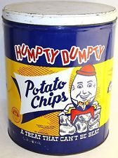 """1940's Humpty Dumpty Potato Chips """"A Treat That Cant Be Beat"""" 3 LB. Tin Can"""