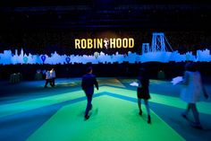 Producers used familiar Robin Hood branding and silhouettes of a cityscape as background for the cocktail area. Photo: Keith Sirchio for BizBash