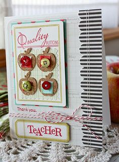 handmade card, botique button stamp set from Papertrey Ink, apples, teacher, Michelle Wooderson Teacher Cards, Teacher Gifts, Teacher Notes, School Teacher, Button Cards, Mish Mash, Paper Cards, Paper Paper, Shabby Chic