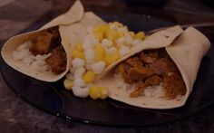 puerco pibil - with my photo of how we prepared ours (wrapped in tortillas with white rice and a side of hominy)