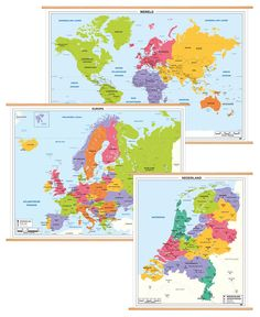 3 Schoolkaarten Nederland/ Europa/ Wereld  B01