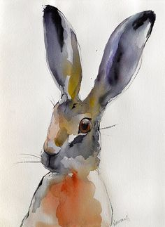 Hare original abstract colorful watercolor by AlisaAdamsoneArt Abstract Animals, Watercolor Animals, Watercolor Paintings, Watercolours, Bunny Painting, Painting & Drawing, Yorky, Music Drawings, Organic Art