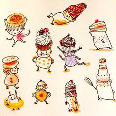 Bake a cake by Marie Åhfeldt, Mås Illustra. www.masillustra.se #illustration #food #cake #drawing #happy
