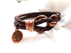 Two layer brown braided leather bracelet and copper. Leather jewelry.