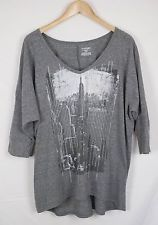 Lane Bryant Shirt Plus Size 18 20 Short Sleeve Gray Shirttail Hem Top