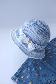 d203694bbde Crochet Baby Girls Summer Hat Toddler Denim Sun Hat Cotton Panama Infant Beach  Hats Baby Shower