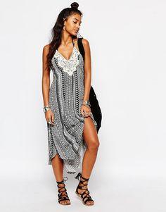2b8e0e64ac6 Surf Gypsy Floral Stripe Crochet Patch Midi Cara Beach Dress