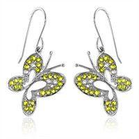 2.00 Carat tw Yellow & White Sapphire Butterfly Earrings in Sterling Silver