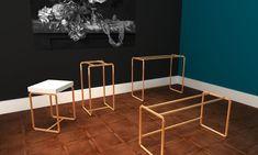 Koperen buisframe onderstellen | Sidetables | Bijzettafels - Made by de l'Orme Table, Furniture, Home Decor, Homemade Home Decor, Mesas, Home Furnishings, Desk, Decoration Home, Tabletop