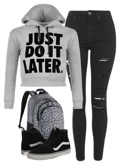 """""""#542"""" by paula164 ❤ liked on Polyvore featuring Topshop, NIKE, WearAll, Vans, women's clothing, women's fashion, women, female, woman and misses"""