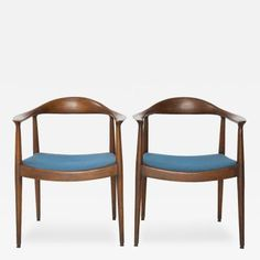 "Pair of Blue Danish Modern Chairs Attributed to ""The Chair"" Hans Wegner by Hans  Wegner"