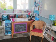 teacher desk, crates on the shelves don't look cluttered.Lessons with Laughter: Classroom Classroom Pictures, Classroom Layout, 4th Grade Classroom, Classroom Setting, Classroom Design, Classroom Themes, Future Classroom, Classroom Crafts, Organization And Management