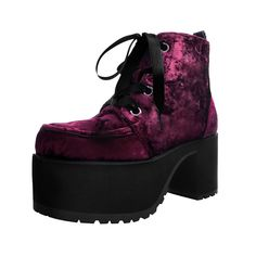 Buy the vegan friendly burgundy crushed velvet nosebleed chunky platform boots Style from the official T. Creeper Boots, Shoe Sites, Vegan Shoes, Platform Boots, Crushed Velvet, Running Shoes For Men, Fashion Boots, Women's Fashion, Heeled Boots