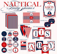 Nautical Baby Shower PRINTABLE Party Full Collection by Love the Day