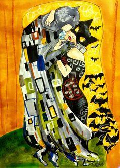 Batman and Catwoman by Oilsoaked Bob Kane, Adam West, Gotham City, Alter Ego, Robin, Dc Comics, Batman And Catwoman, Dc Characters, Gustav Klimt