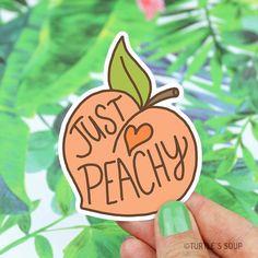 Peach Sticker Just Peachy Vinyl Stickers Gift For Her Peach Sticker, Just Peachy, Vinyl Stickers, Gift For Her, Southern Belle, Cute Stickers, Laptop Decal, Hydroflask Sticker, Gifts Under 5