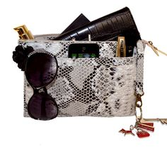 Keep handbag organized with BagPod by RedDog Design #snakeskin