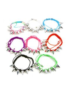 AB0013 Fashion assorted spikes braided cord bracelet (Blue, White and Red Colors Available)