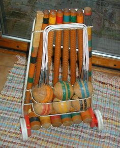 Croquet Set with wheeled Cart.