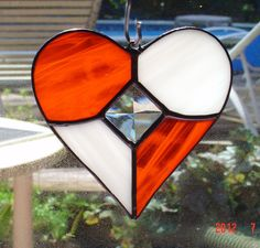 Orange and White Stained Glass Heart Sun Catcher with glass bevel
