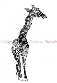 baby giraffe drawing black and white - Google Search